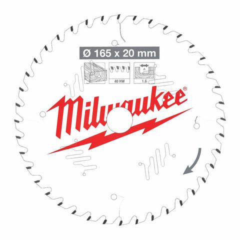 Milwaukee Pyörösahanterä 165x1.6x20 Z40 Puulle