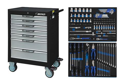 Boxo 7071S Työkaluvaunu laatikkojarrulla ja työkaluilla 143-osaa