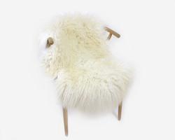 Lampaantalja luonnonvalkoinen muhkea pitkävillainen