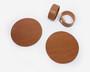 Lasinaluset ja lautasliinarenkaat 2kpl Nahka Konjakin ruskea