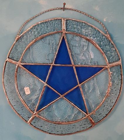pentagram tiffany työ, sininen