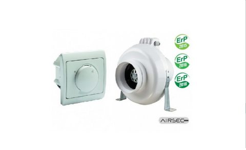 Kanavapuhallin Airsec VK EC 125 + nopeudensäädin EC-moottorille