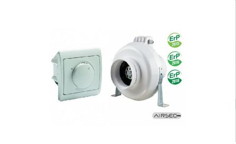 Kanavapuhallin Airsec VK EC 160 + nopeudensäädin EC-moottorille