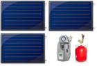 Aurinkokeräinpaketti 3 kpl FINO tasokeräintä aurinkolämmitykseen 250-400l hybridivaraajalle
