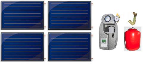 Aurinkokeräinpaketti 4 kpl FINO tasokeräintä aurinkolämmitykseen 350-500l hybridivaraajalle