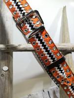 Musta/valkea/oranssi nahkavyö sirkoilla 40mm/2h