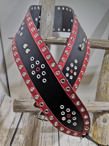 Musta lapinvyö punaisilla reunoilla 80mm