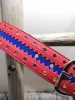 Sininen nahkavyö punaisellareunalla kullanvärisellä tähdellä 40mm/1h