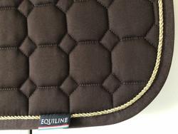 Equiline Octagon satulahuopa, ruskea kultaisella kanttinauhalla, este/yleis