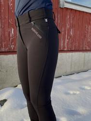 Kingsland Kadi Ladies E-Tec Full Leather ratsastushousut mokkapaikoilla, musta