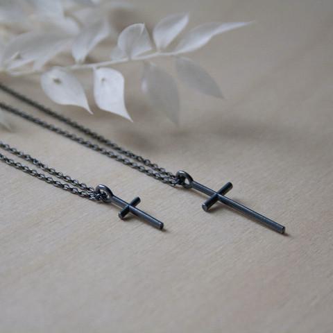 SIRO cross necklace in black by Sini Kolari