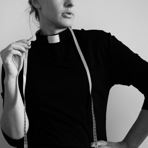 Black 3/4 sleeved tab collar shirt