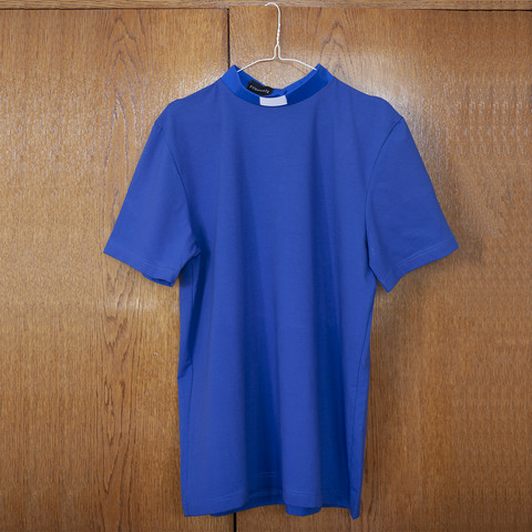 T-shirt with tab collar, blue