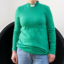 Green long-sleeved collared shirt