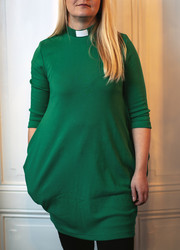 Green tunic with tab collar