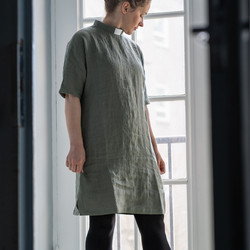 Khaki green linen tunic