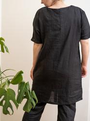 Boat neck linen tunic