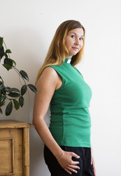 Green jersey knit nursing top for clergy