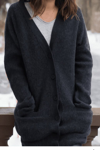 WARM light cardigan, Almost Black