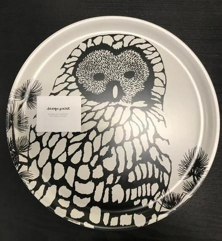 Tarjotin, Pöllö. Pyöreä, 35cm, musta valkoinen