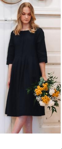 Olivia pellava-puuvillamekko Väri:musta