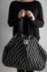 Puikko kangaskassi, 40 x 60cm. Mustavalkoinen kuosi