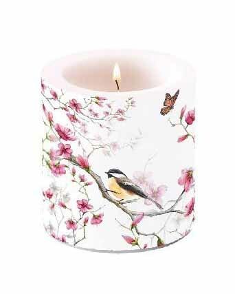 Kynttilä Lintu ja kukat 10 cm