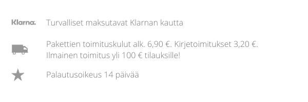 Klarna - turvalliset maksutavat Klarnan kautta sisustusverkkokaupassa Cimla Interiorissa. Pakettien toimituskulut alkaen 6,90 €. Kirjetoimitukset 3,20 €. Ilmainen toimitus yli 100 € tilauksille. Palautusoikeus 14 päivää.