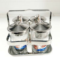 Stainless steel and glass seasoning set 4