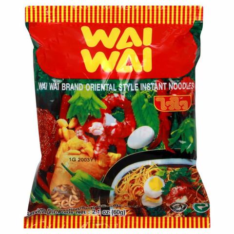 Wai Wai Instant Noodles Minced Pork Tom Yum Flavour 60g. Pack 30