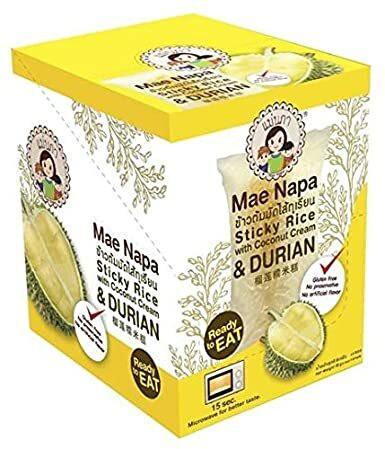 Mae Napa Sticky Rice with Coconut Cream & Durian 6x80g GLUTEN FREE