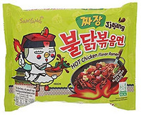 Samyang, JJajang, Hot Chicken Flavour Ramen, Korean Black Bean Sauce, 140 g