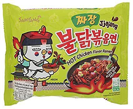 Samyang, JJajang, Hot Chicken Flavour Ramen, Korean Black Bean Sauce, 140 g