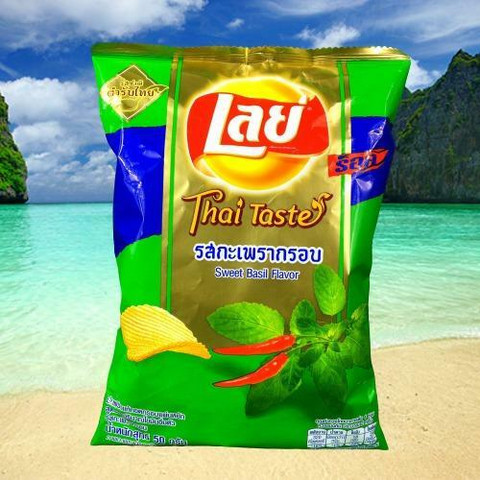 Thai Lays Potato Chips, Sweet Basil Flavor 75g