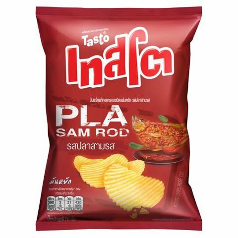 Tasto Pla Sam Rod Flavour Ridge Cut Potato Chips 75g