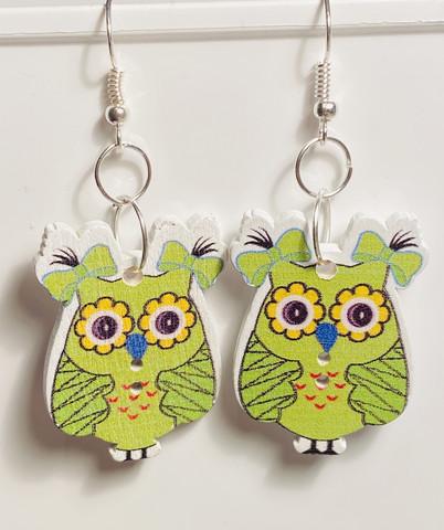 Pöllö korvakorut, vihreä