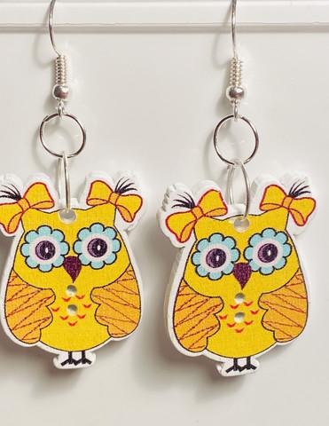 Pöllö korvakorut, keltainen