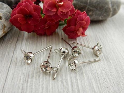 Korvakorutappi lenkillä, 4x13mm, timantti/kromi, 1pari