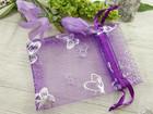 Organza pussi perhonen, 7x9cm, lila, 1kpl