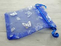 Organza pussi perhonen, 12x9cm, sininen, 1kpl