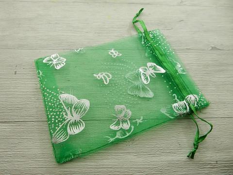 Organza pussi perhonen, 12x9cm, vihreä, 1kpl