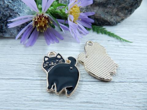 Kissa riipus, 20x14mm, musta/kulta, 1kpl