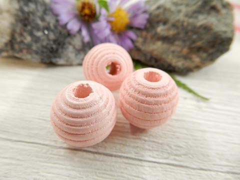 Puuhelmi, 14mm, vaaleanpunainen, 1kpl