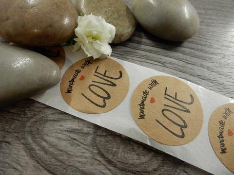 Handmade with love tarra, 25mm, LOVE, 10kpl