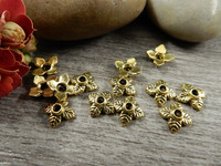 Helmihattu kukka, 5x7mm, kulta, 20kpl