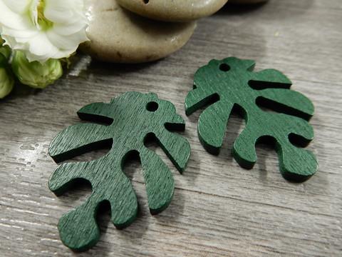 Lehtiriipus, 30x23mm, vihreä/puu, 1kpl
