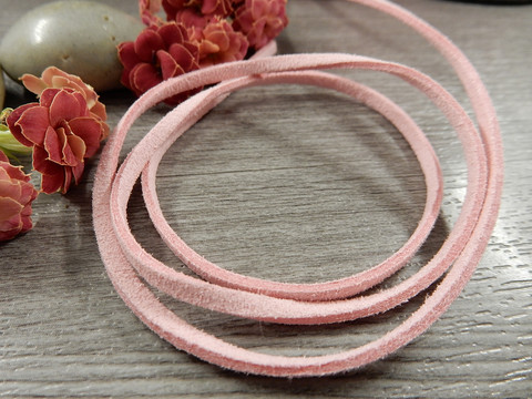 Tekomokka nauha, 3mm, vaaleanpunainen, 1m