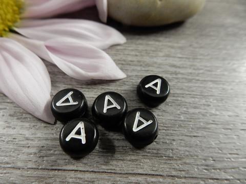 Kirjainhelmi A, 7mm, musta, 1kpl