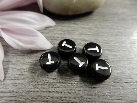 Kirjainhelmi T, 7mm, musta, 1kpl