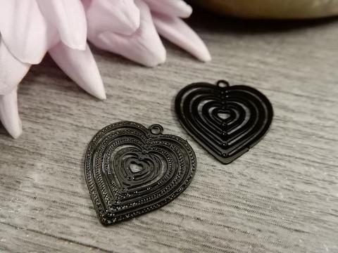 Sydänriipus, 15x15mm, musta, 1kpl